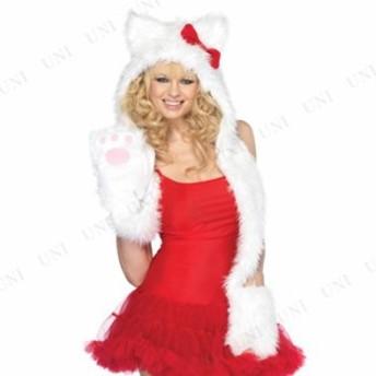 !! フードマフラー ホワイトキャット 仮装 衣装 コスプレ ハロウィン 余興 大人用 コスチューム 女性 アニマル 動物 ネコ マフラー レ