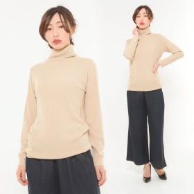 ニット・セーター - CLOTHY ■カシミヤタッチ■リブ 無地 タートルネック 長袖 ニット (M/L)