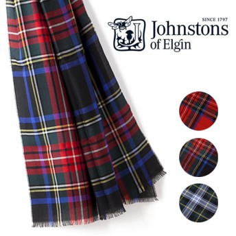 ジョンストンズ JOHNSTONS WA001063 LIGHTWEIGHT TARTAN STOLE 190×70 カシミア マフラー ストール 大判 チェック