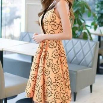 ドレス ワンピース ひざ丈 ノースリーブ 花柄 オレンジ 30代 上品 エレガント きれいめ 春夏 結婚式 お呼ばれ a724