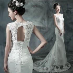 ノースリブ エレガントフィッシュテーレース ウェディングドレス ホワイト
