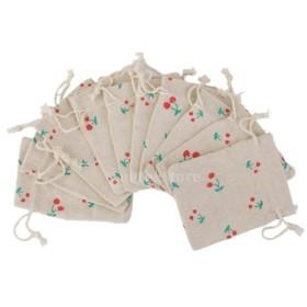 ノーブランド品 リネン ジュート製 ジュエリーポーチ 巾着袋 ギフトバッグ チェリー柄 (グリーン) 10枚