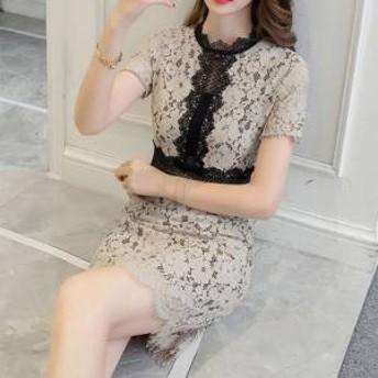 ドレス ワンピース ミニ丈 半袖 レース 白 黒 ベージュ ピンク グリーン 30代 上品 エレガント きれいめ 春夏 結婚式 お呼ばれ a788