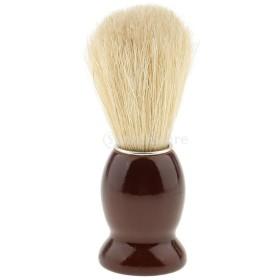 ひげそり用ブラシ 木製ハンドル シェービングブラシ 家庭 プロ 全4色 ランダム  - 褐色