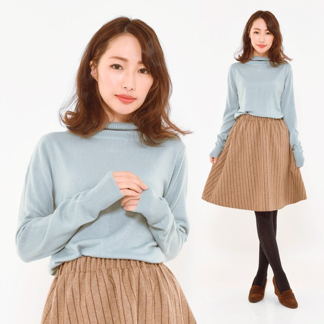 ニット・セーター - CLOTHY ■カシミヤタッチ■無地 タートルネック 長袖 ニット (M/L)