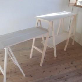キッチンカウンターテーブル(サイドテーブル&棚付き)・作業台 / キャンプギア(国産ひのき)