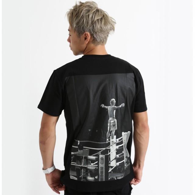 Tシャツ - improves 半袖Tシャツ メンズ レディース クルーネック ロゴT プリントTシャツ バックプリント コットン 綿100% 黒 K-1武尊コラボ服 メンズファッション