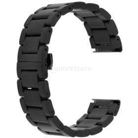 ステンレス 優雅 腕時計バンド 修理部品 高級感 交換性 全6種類 - マットブラック, 22mm