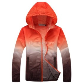 Lovoski UV対策 薄手 軽量 スポーツ 速乾 アウトドア 登山 ジャケット スキンコート 全6サイズ4色選べる - オレンジとブラウン, L
