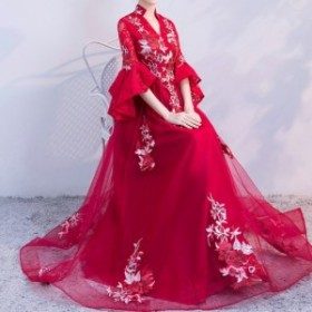 刺繍入り エスニック ロング ドレス 結婚式 お色直し パーティー ワインレッド