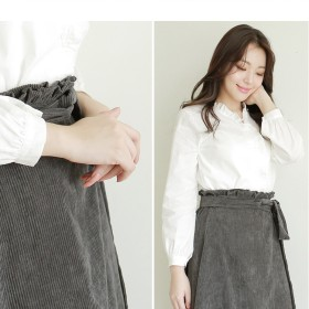 ロングスカート - U-BASIC コーデュロイラップスカート ラップスカート ベルト付き グレー ベージュ