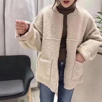 ファーコート - Miniministore ボアジャケット レディース ノーカラー ボアコート ショート丈 防寒 アウター 長袖