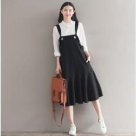 ジャンパースカート ジャンスカ ブラック フレア 無地 シンプル サイズ豊富 秋 おしゃれ かわいい デート 通学