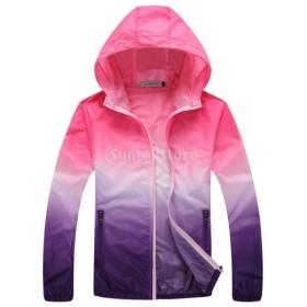 Lovoski UV対策 薄手 軽量 スポーツ 速乾 アウトドア 登山 ジャケット スキンコート 全6サイズ4色選べる - ピンクとパープル, XL