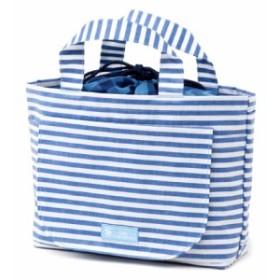 おむつポーチ 巾着トートタイプ ベーシックストライプ(綿100%)・青 B1300500