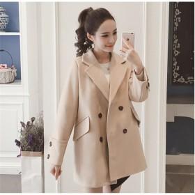 [55555SHOP] 韓国ファッション/コート フェイクウールコート レディース コート アウター トレンチコート ロング丈 ダブルボタン ゆったり ストリート風 カジュアル 無地 着痩せ 通