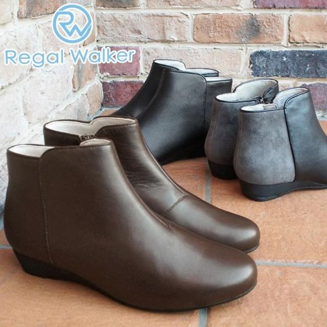 リーガルウォーカー REGAL WALKER ショートブーツ 本革 レザー レディース HB65 黒 ブラック ブラウン グレー バイカラー ローヒール