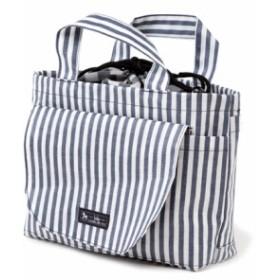 おむつポーチ 巾着トートタイプ ベーシックストライプ(綿100%)・紺 B1304800