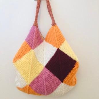【受注製作】ドミノ編み五色バック 《暖色系》