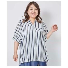 eur3 / 【大きいサイズ】ストライプスキッパーシャツ