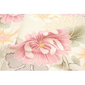 着物 - SOUBIEN 袴用二尺袖着物 白 アイボリー ピンク 菊 キク きく 花 小振袖 卒業式 謝恩会 女性 レディース 仕立て上がり