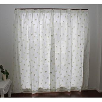 2枚組 断熱・保温パイルミラーレースカーテン (100×108cm)