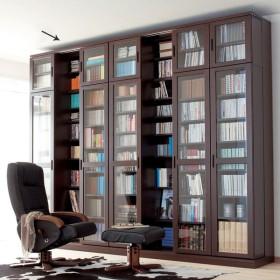 本格仕様 快適スライド書棚 タモ天然木扉付き・上置き付き 3列 711952