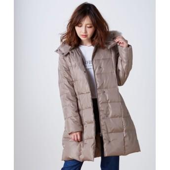 フェイクファー付ロング丈ダウンコート (コート)(レディース)Coat