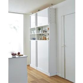 省スペースOK! 突っ張り式 薄型 引き戸 キッチン収納 食器棚 奥行30cmタイプ 幅90cm 689814