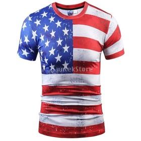 男性 アメリカ国旗パタン 半袖 トップス シャツ トップ ソフト 全6サイズ - M