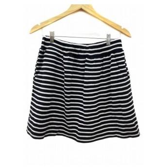 ダブルスタンダードクロージング ダブスタ DOUBLE STANDARD CLOTHING スカート 台形 ミニ ニット ボーダー F 黒 ブラック 白 ホワイト /RN60 レディース【中古】