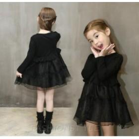 韓国子供服 ワンピース フォーマル◇キッズドレス チュールワンピース 長袖 リボン kids dress 上下セット チュールスカート 子供ドレス