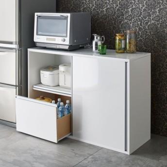 全部隠せる スライド棚付きキッチン家電収納庫 ロータイプ 672117