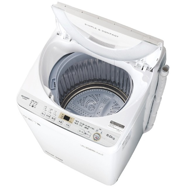 全自動洗濯機 6.0kg ES-GE6C-W ホワイト系 [洗濯6.0kg /乾燥機能無]