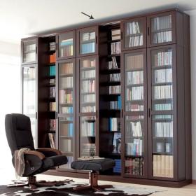 本格仕様 快適スライド書棚 タモ天然木扉付き・上置き付き 4列 711953