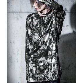 シルバーバレット Bernings Sho汚しプリントクルーネック長袖Tシャツ メンズ ブラック 01(WHT/ホワイト) 【SILVER BULLET】