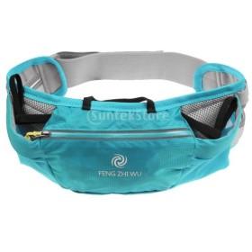 遠足 ジョギング ウォーキングポーチ ポッケト ウエストバッグ ウエストベルト 小物入れ 全3色 - ブルー
