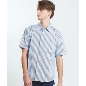 【40%OFF】 アバハウス パッチワークストライプショートスリーブシャツ メンズ ブルー 46 【ABAHOUSE】 【セール開催中】