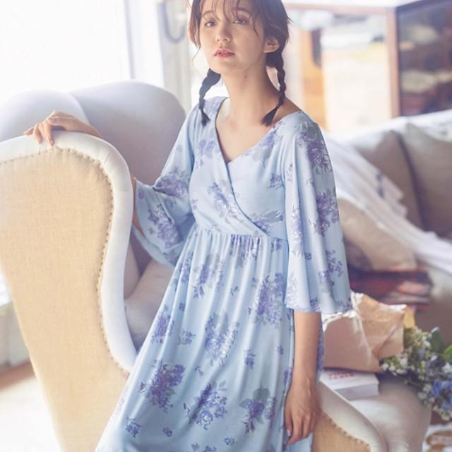 589ef40928ada RyuRyu 花柄カシュクールワンピース ブルー パープル L レディースレディースファッション アパレル おすすめ 人気 通販