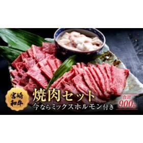 宮崎和牛ウデ・モモ焼肉&牛ミックスホルモンセット(合計900g)