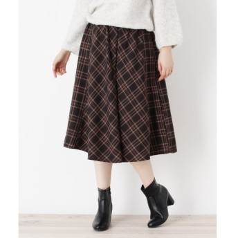 SHOO・LA・RUE / シューラルー ピーチチェックフレアスカート