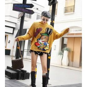 [55555SHOP]新作! レディース トップス ハイネック 大人可愛い 秋冬 ニット 長袖 シンプル リブ編み ストレッチ性 パステルカラー プルオーバー 暖かい 体型カバー 韓国ファッション