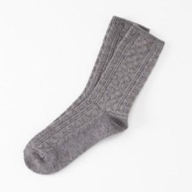 靴下 レディース 同色2足組・吸湿発熱クルーソックス 「ダークグレーダイヤ柄2足組」