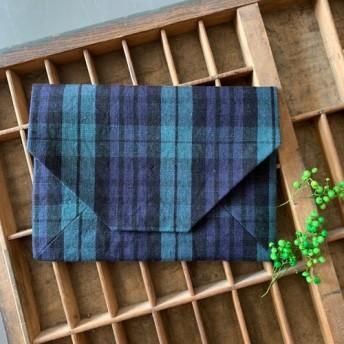 ブラックウォッチの数寄屋袋 内布リバティ/青
