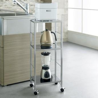 キャスター付ステンレス棚キッチン作業台 幅36.5cm H57207