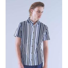 【20%OFF】 アバハウス COOLMAX鹿の子マルチストライプシャツ メンズ ネイビー 44 【ABAHOUSE】 【セール開催中】