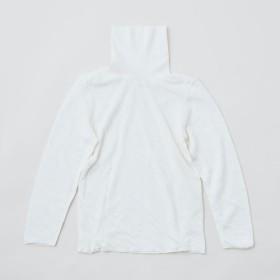 【送料無料】リネンニット 2重長袖タートルネックプルオーバー(オフホワイト)レディース
