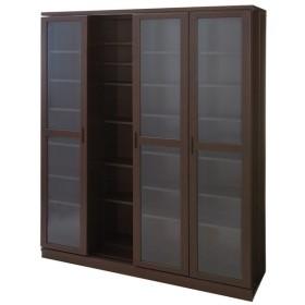 本格仕様 快適スライド書棚 タモ天然木扉付き 4列 711950
