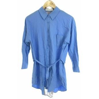 【中古】トランテアン ソン ドゥ モード ワンピース シャツ ひざ丈 長袖 切替 オーバーサイズ 36 青 ブルー グレー レディース