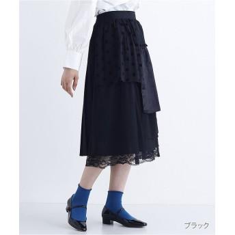 メルロー 異素材パッチワークフリルフレアスカート7897 レディース ブラック FREE 【merlot】